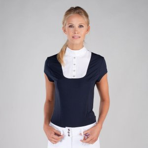 Product shot of navy/white womans equestrian shirt