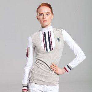 Product shot of white/grey womans equestrian shirt