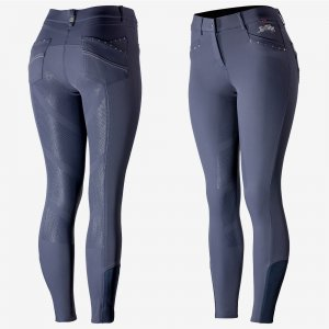Product shot of womans dark navy breeches