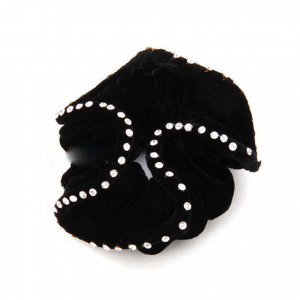 Black hair scrunchie with crystals
