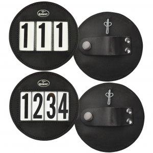 Black leather number holder