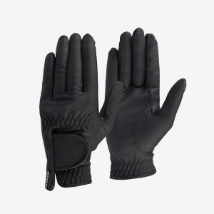 Product shot of black equestrian riders gloves