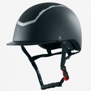 Product shot of black equestrian helmet
