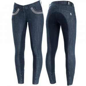 Product shot of womans light blue breeches