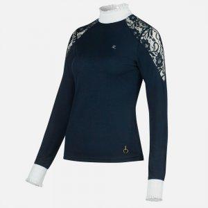 Product shot of navy long sleeved shirt