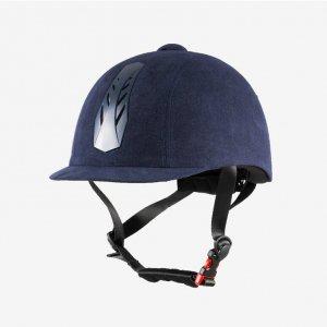 Product shot of blue equestrian helmet